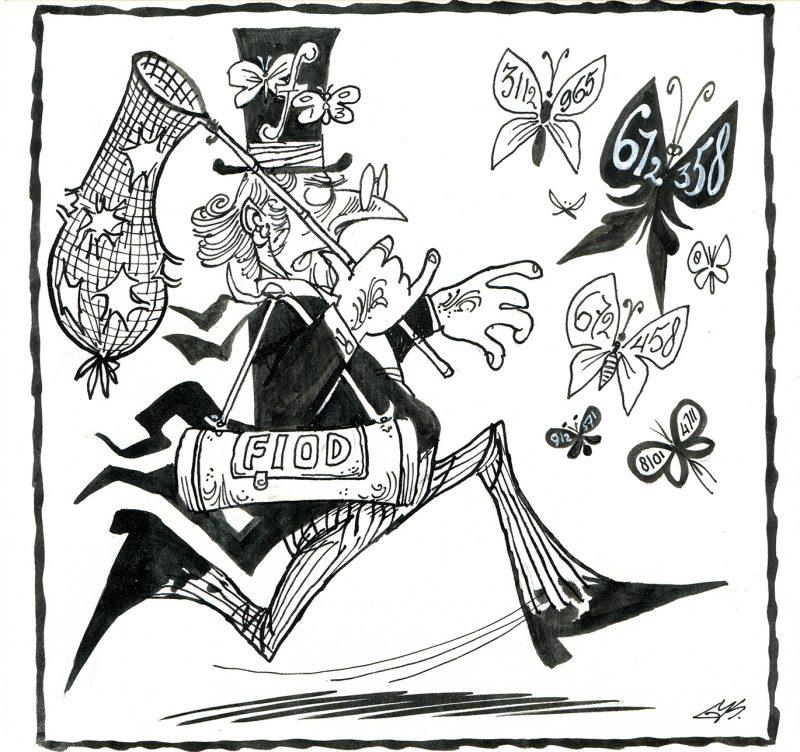 De afbeelding is een zwart op wit pentekening. Een man in een pak met slipjas en hoge hoed probeert vlinders te vangen met het net dat hij in zijn handen heeft. De man staat symbool voor de FIOD. De vlinders staan symbool voor geheim geld.