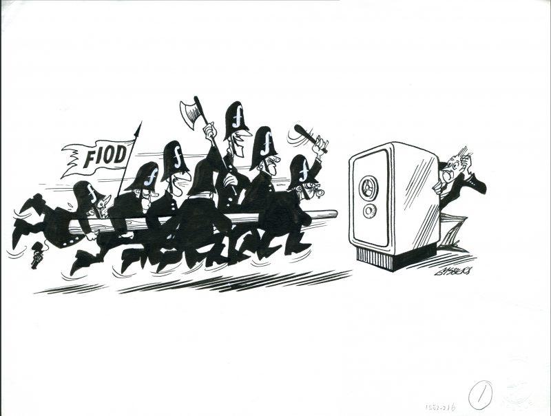 Zwart op wit tekening van 7 politieagenten die met een stormram naar een kluis rennen.